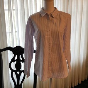 Women's JJill purple/cream perfect shirt Sz XL